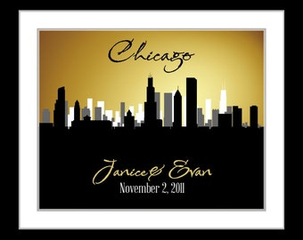 Wedding gift, any skyline, engagement gift, wedding guest book wedding gifts for couple 50th anniversary gifts 2nd anniversary gifts for men