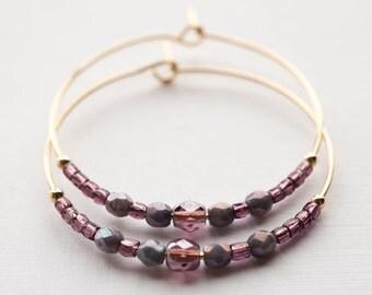 twilight / amethyst purple and gold hoop earrings