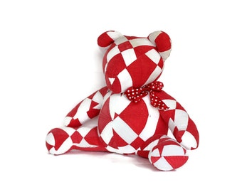 Teddy Bear Handmade from Antique Quilt, Red White Stuffed Animal
