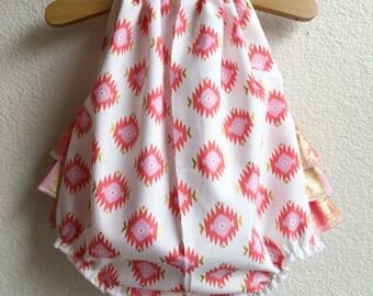 Glitz Aztec Ruffled Baby Girl Romper. Baby Girl Romper. Baby Bubble Romper. Baby Sun Suit.