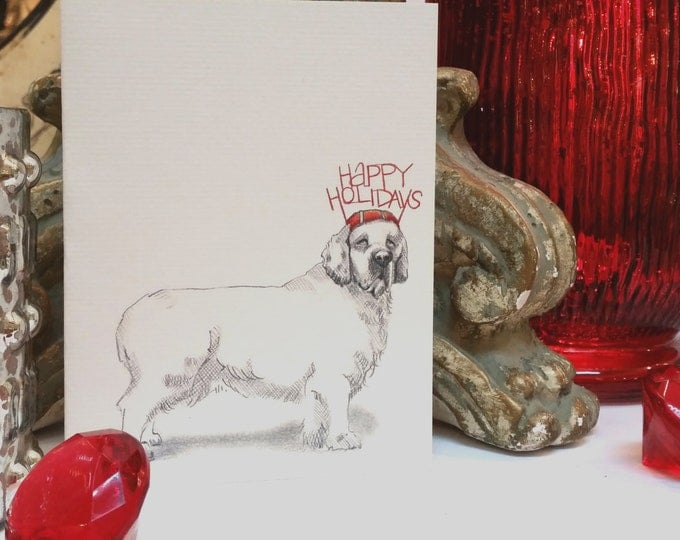Clumber Spaniel Holiday Card