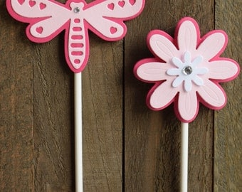 Dragonfly Cupcake Toppers, Flower Cupcake Toppers, Dragonfly Birthday Party, Flower Birthday Party, Flower Food Picks, Spring  (Set of 12)