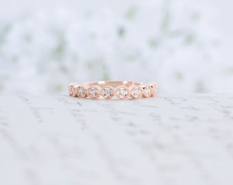 Rose Gold Wedding Band - Art Deco Ring - Stacking Ring - Eternity Ring - Wedding Ring - Promise Ring - Sterling Silver - Stacking Ring