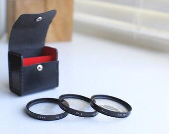 Vivitar Set of 3 Coated Macro Close-up Lens Filter with Case +1, +2. +4 - Fits 55mm Diameter Lenses