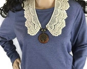 Outlander Claire Lace Collar with Wooden Tree of Life Pendant - Statement Necklace Fraser Diana Gabaldon FREE SHIPPING FT25