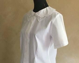 Vintage 80's White Cotton Lace Collar Blouse