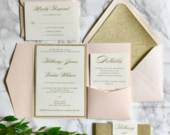 Blush and Gold Glitter Pocket Wedding Invitations with Glitter Belly Band, Blush Wedding Invitation with Glitter, Gold and Blush Invitations