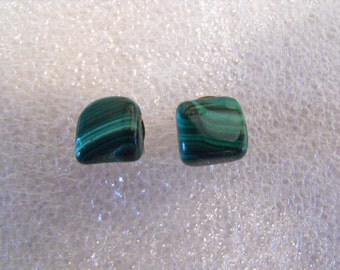 Malachite Post Earrings, Green Striped Natural Stone Pillows