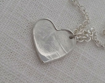 Fingerprint necklace jewellery -handmade fine silver heart pendant, sterling silver chain, two fingerprints, perfect anniversary gift