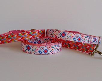 Love Language or Valentine Herringbone Collar & Double Sided Leash - READY TO SHIP!