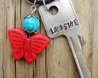 IMAGINE Key Necklace – Recovery Gifts – Sober Jewelry – Sober Gifts – Hand Stamped Key Necklace – Recovery Jewelry – Engraved Key Necklace