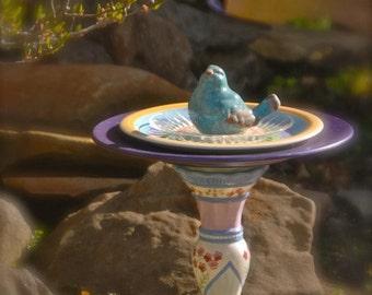 """RESERVED ORDER: """"Mr. Blue Bird"""" Garden Totem, Birdfeeder, Garden Art, Garden Sculpture, Garden Decor, Yard Art"""