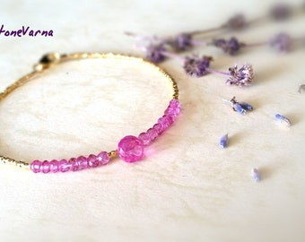 Pink Topaz and 24K gold Vermeil Beads Bracelet, Gemstone Bracelet, Natural Pink Topaz Bracelet, November Birthstone