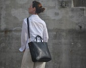 Black Leather Tote Bag, Tote with Zipper, Italian Leather, Leftather Diaper Bag, Leather Work Bag, Cross body Tote, Leather Laptop Bag, Tote