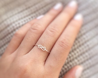 Reversible Silver Infinity Knot Ring,love infinity ring,silver infinity ring,eternity ring,twist wrap ring,boho,girlfriend gift,adjustable