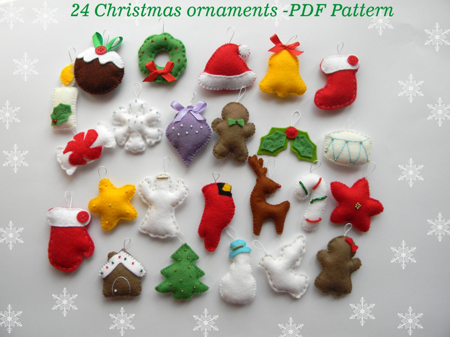 Christmas felt ornaments - Pdf Pattern 24 Advent Ornaments Pattren Christmas Ormaments Felt Christmas Ornament Easy Sewing Pattern Hand Sewing Diy Ornament