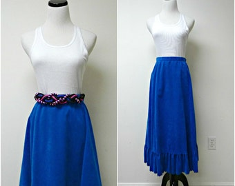"""Clarissa . vintage too blue . ultrasuede leather . maxi skirt . size 14 . 31.5"""" waist . made in USA"""