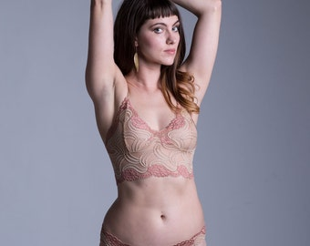 Bra - Nude and Champagne Lace Bra - See Through Sheer Lingerie - 'Sassafras' Style - Custom Fit Made To Order