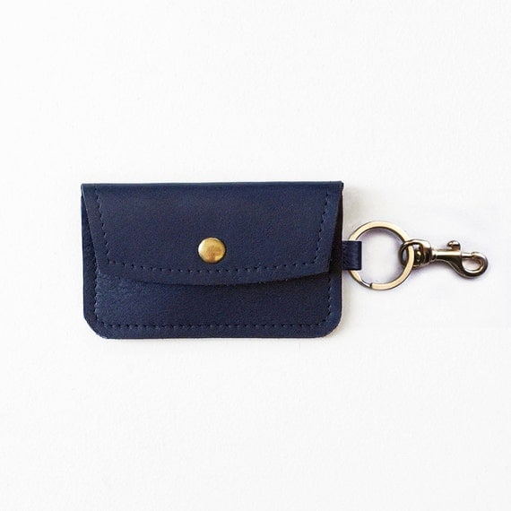Navy Leather Keychain Wallet Keychain Credit Card By