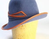 Blue Grey Velour Fur Felt Wide Brim Fedora Winter Custom Handmade Hat/Orange Leather Piping/Felt Leather Band-Handmade Couture Millinery