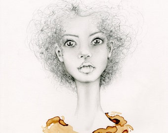 One of a Kind Drawing of a Girl's Face Women in Art Rustic Decor OOAK Drawing Illustration of a Girl Brown Painting Coffee Staining