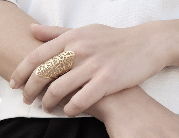 Paris Map Ring Gold Statement Ring in Gold or Silver
