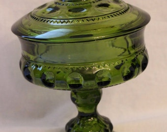 Vintage Indiana Glass King's Crown Olive Green Covered Compote