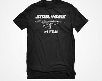 Star Wars #1 Fan Tshirt Men's / Unisex Adult Black Star Trek Starship Enterprise Shirt Gift for Him and Her Jedi Trekkie T-shirt
