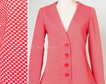 Mod Top, Vintage Red Cardigan, Vintage 60s Cardigan, Vintage Cardigan, Space Age Cardigan - M/L