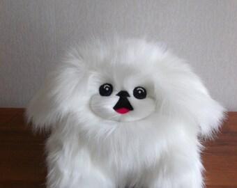 Pekingese, Pekinese, stuffed dog, stuffed animal, stuffed Pekingese, plush Pekingese, dog toy, fluffy dog, dog plush, WHITE WITH LEGS