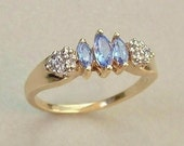 Reserved Sale 10K GOLD Diamond Tanzanite RING Promise Engagement Wedding Jewelry Hallmarks Size 6, Gift for Her