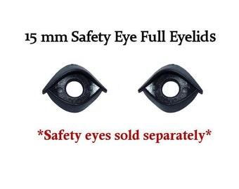 15 mm Black Full Eyelids One Pair  for Plush Dolls Toys
