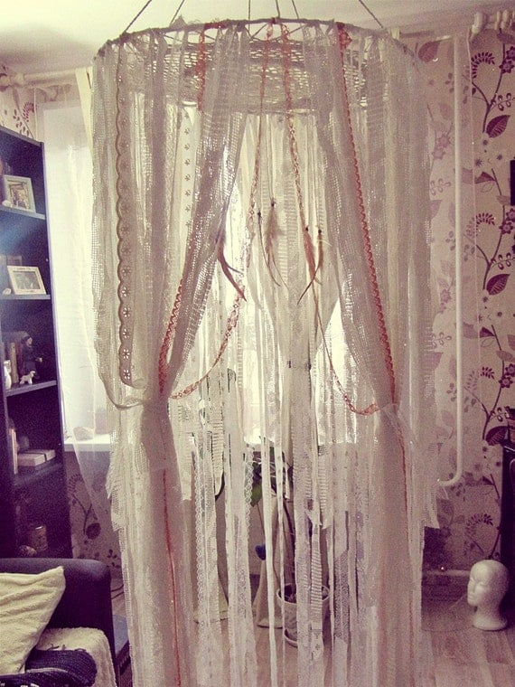 seagypsygifts - Boho Bed Crown - Baby Crib Canopy - Gypsy Nursery Decor - Dreamcatcher Canopy - Bohemian Bedroom - Made to Order & seagypsygifts - Boho Bed Crown - Baby Crib Canopy - Gypsy Nursery ...