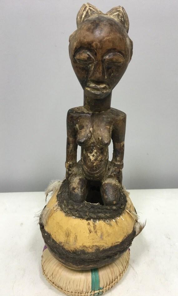 African Statue Gourd Female Spirit Luba Wood Sculpture Zaire Handmade Carved Wood Statue Fertility Cult Spiritual Gourd P
