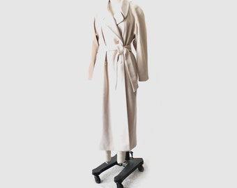 1980's Light Taupe Midi Wool Coat