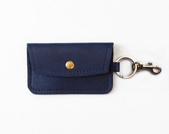 Navy Leather Keychain Wallet, Keychain Credit Card Wallet, ID Wallet, Business Card Holder, Gift Card Holder, Keychain Metro Card Pouch