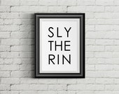 Slytherin Print, Harry Potter Print, Hogwarts Typeface Wall Art, Harry Potter printable
