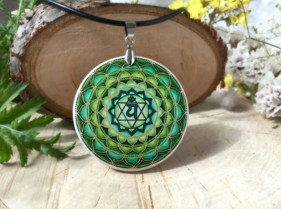 Anahata Chakra  polymer clay necklace