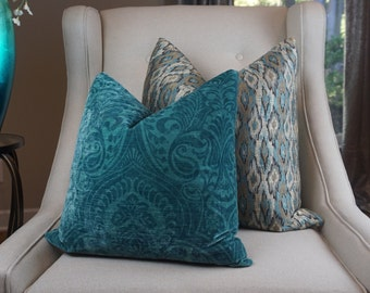 Paisley Teal Pillow Cover, Teal Decorative Pillow, Velvet Cushion Cover, Pillow Decor, Housewares Decor, Homeliving, Decorative Pillow, 0039