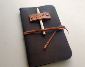 Leather Field Notes cover in rich Horween leather / optional personalization  / optional card slot