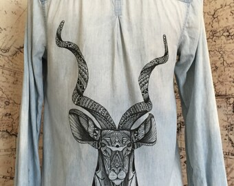 S Studded Denim Shirt with HAND DRAWN Antelope Size Small