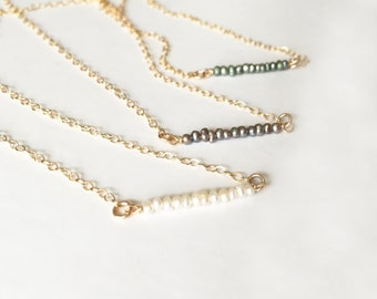 Pearl Bar Necklace - Freshwater Pearl Bar Necklace - Pearl Necklace - Gold Fill - Bridesmaid Gifts - FW Pearls - Gold Layering Necklace
