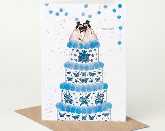 Pug Wedding Card, Pug Civil Ceremony Card, Mr & Mr (gay wedding card, dog wedding card, tattoo wedding card, pug engagement card)
