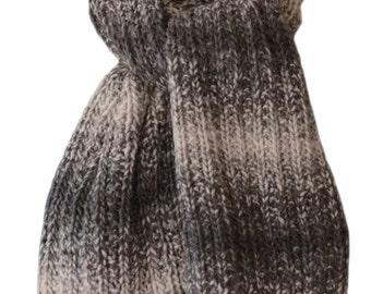 Hand Knit Scarf - Black & Taupe Moccasin Alpaca Trail Ridge Rib