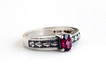Checker Cut Rhodolite Garnet Ring: Sterling silver, made to order, vintage style engraving, garnet jewelry, sizes 4 - 11, january birthstone