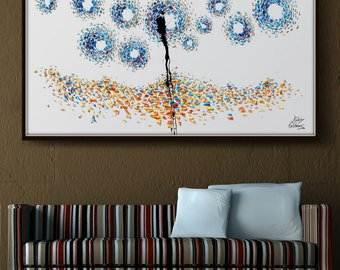 """Abstract Painting 60"""" - """"The Starry night""""  , modern painting, Original oil painting , modern style , By Koby Feldmos"""