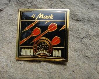 Black and Red Vintage Pin Pendant Brooch Red Darts 4 Darts AMOANDA