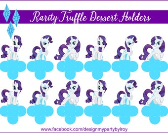 RARITY, My Little Pony, Rarity Party Favors, Rarity Party Supplies, Rarity Party Printable, Rarity Chocolate Holders, Rarity Candy Box,Cups.