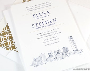 Oklahoma City Skyline Wedding Invitations Package (Sold in Sets of 10 Invitations, RSVP Cards + Envelopes)