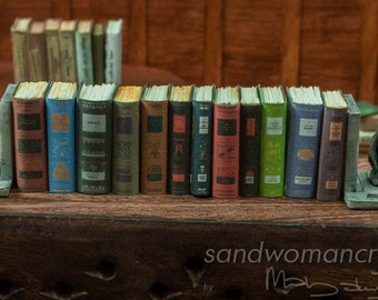 Classical miniature book or books of your choice among 12 books. Dollhouse miniature in 1/12 scale for library, desk. Paper pages and cover